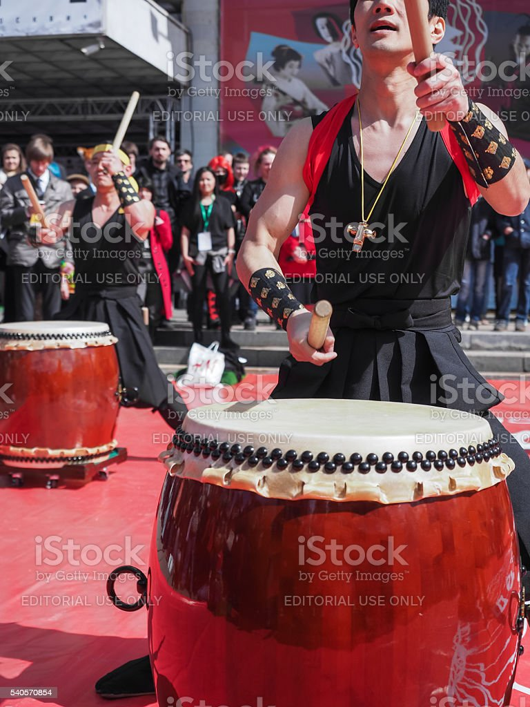 Musicians play drums stock photo