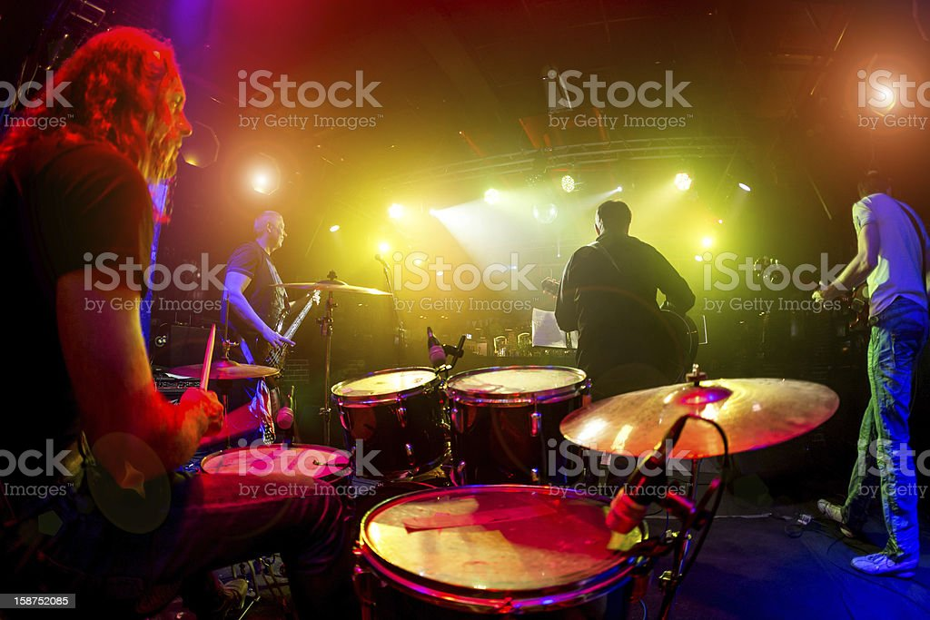 musicians play on stage stock photo