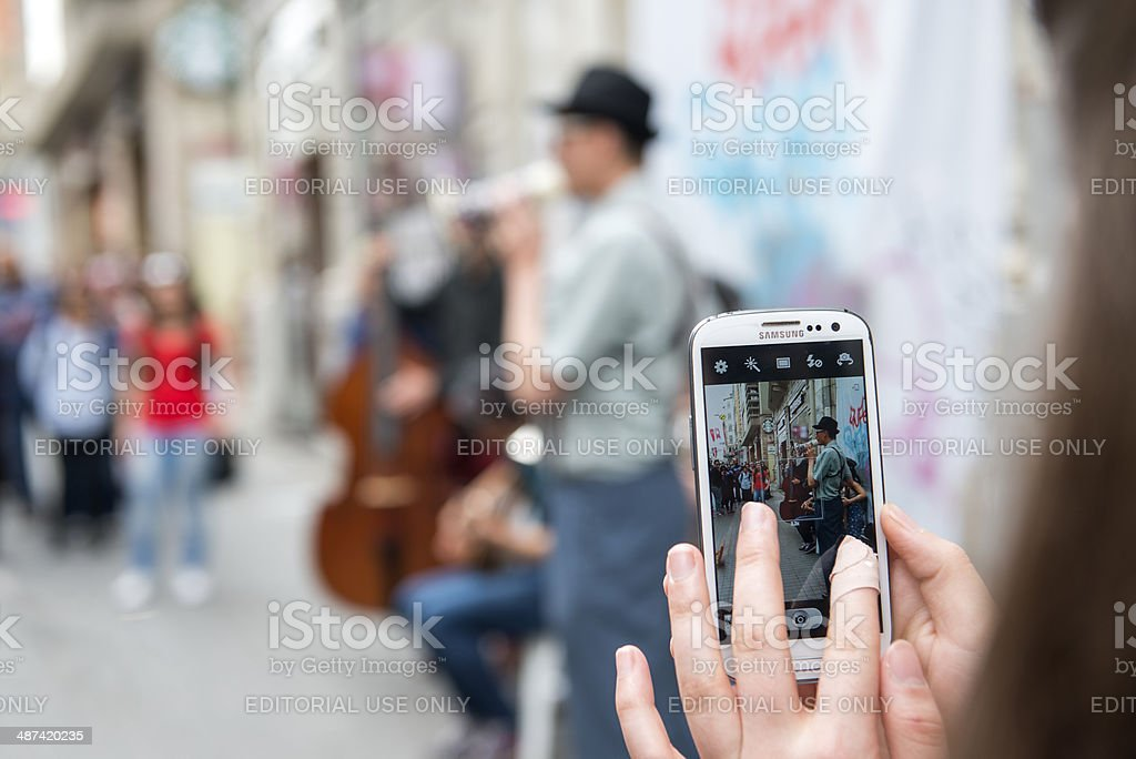 Musicians Playing at istiklal street,istanbul stock photo