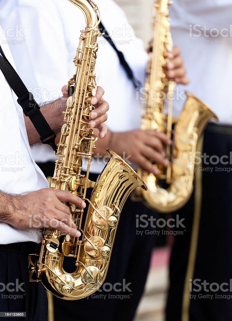 Musicians Plays Saxophone . stock photo