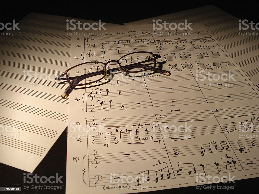 Musicians spectacles on manuscript royalty-free stock photo