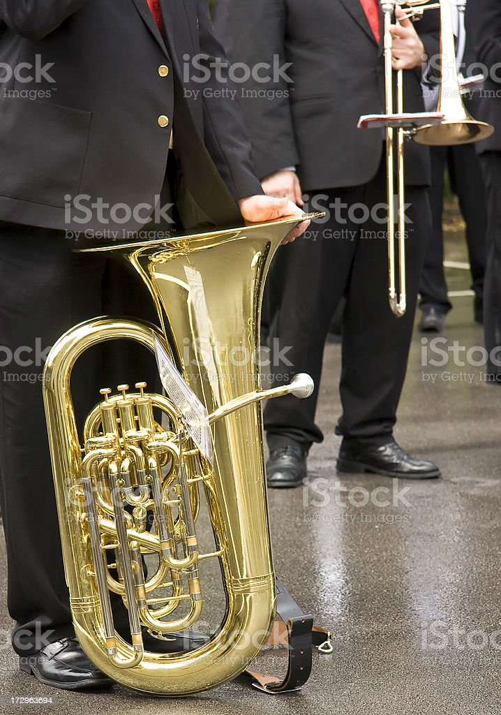 Musicians wait in the rain royalty-free stock photo