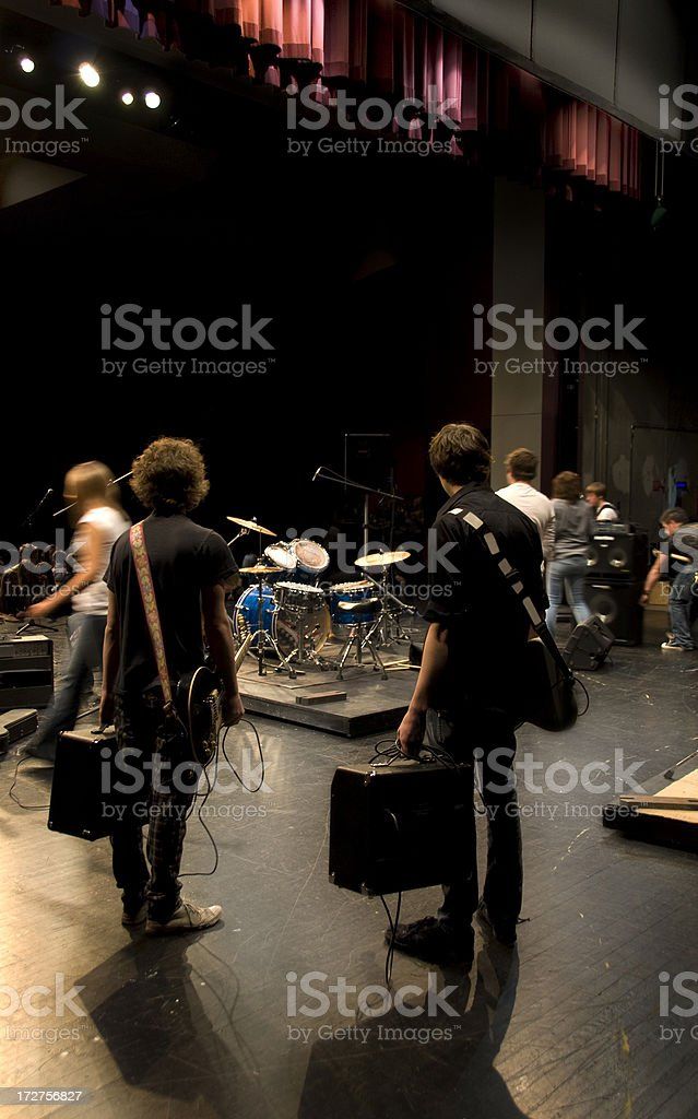 Musicians Wait on Stage stock photo