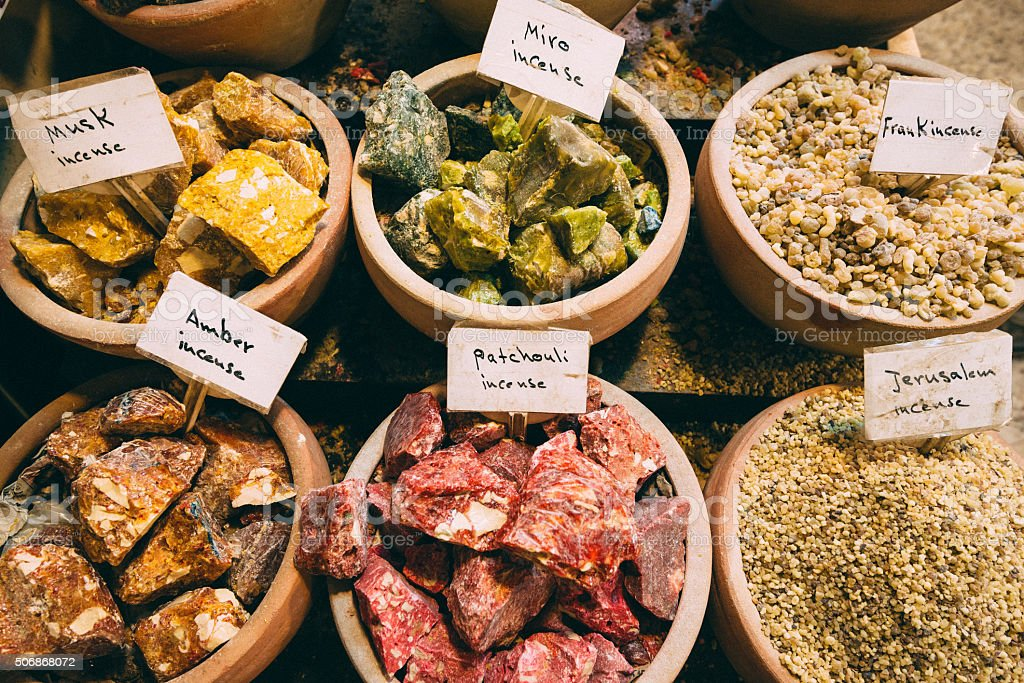 Musk and aromatic essences on Jewish market in Jerusalem, Israel stock photo