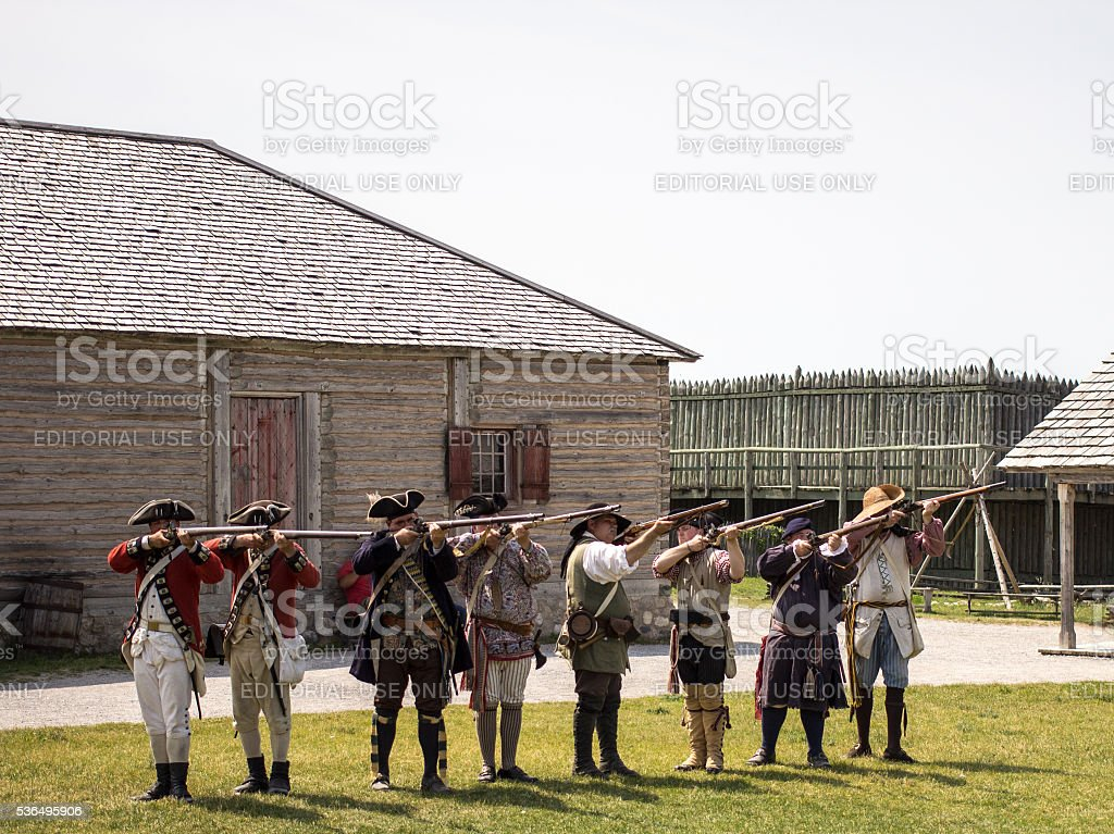 Musket Firing In Fort Michilimackinaw In Mackinaw City stock photo