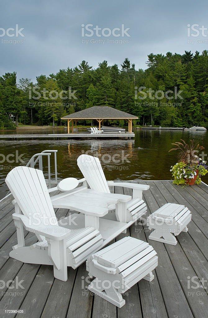 Muskoka dock stock photo