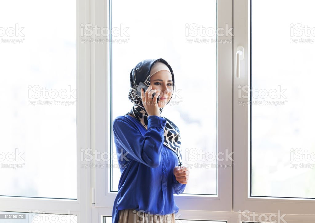 Muslim asian woman working in office stock photo