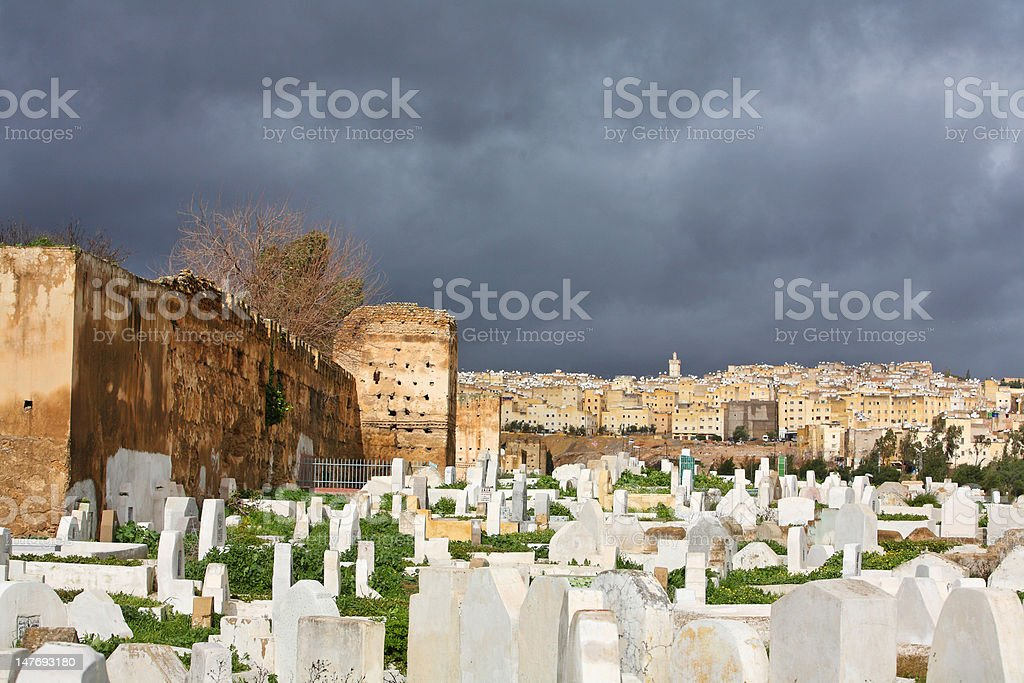Muslim cemetery. Fes, Morocco stock photo
