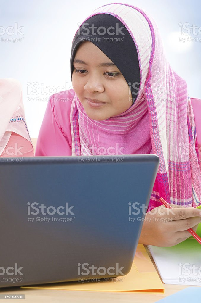 Muslim college girls stock photo
