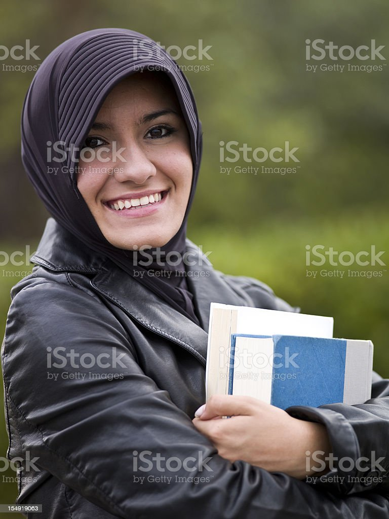 Muslim female college student stock photo