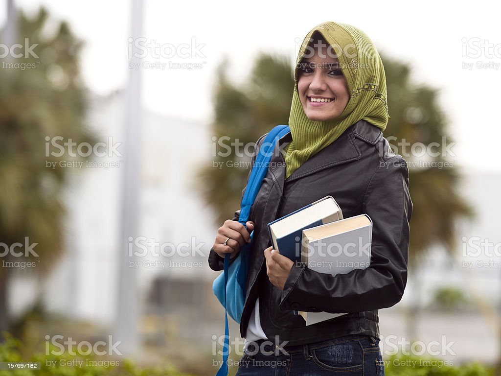 Muslim female college student stock photo