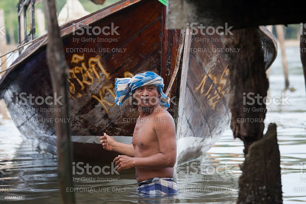 Muslim fisherman. royalty-free stock photo