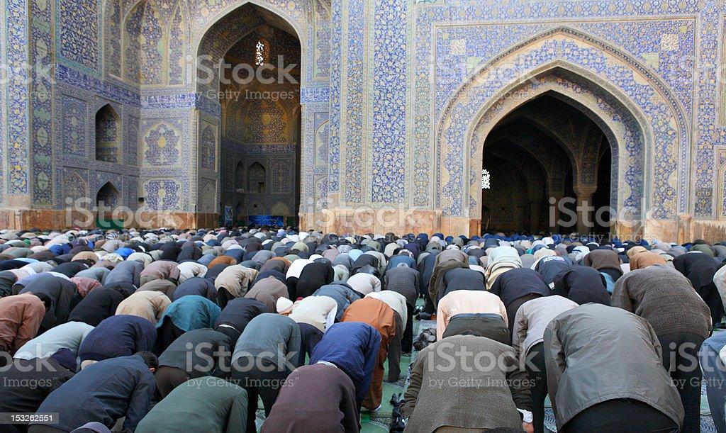 Muslim Friday mass prayer in Iran stock photo