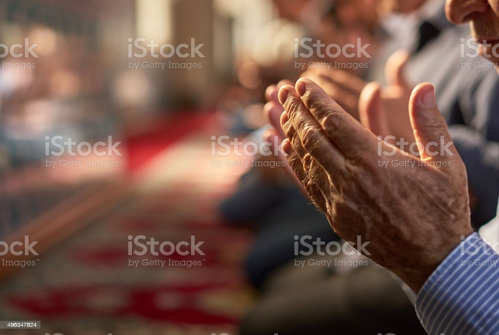 Muslim Friday mass prayer in Turkey stock photo
