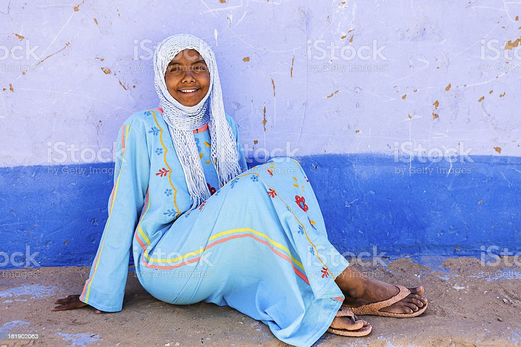 Muslim girl in Southern Egypt royalty-free stock photo