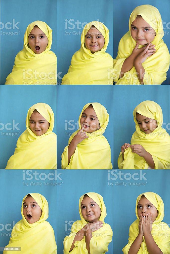 Muslim girl making facial expressions (XXL)) royalty-free stock photo