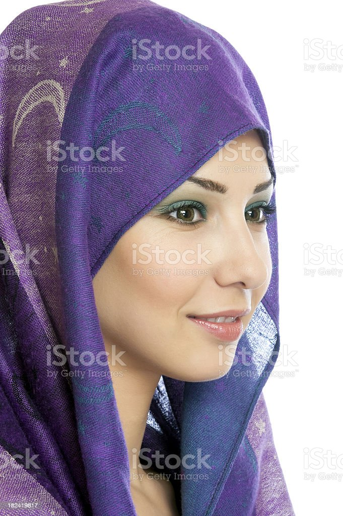 Muslim girl with head covering stock photo