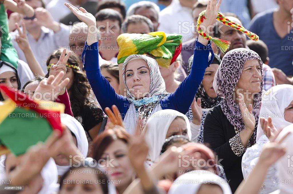 Muslim Kurdish female protestor royalty-free stock photo