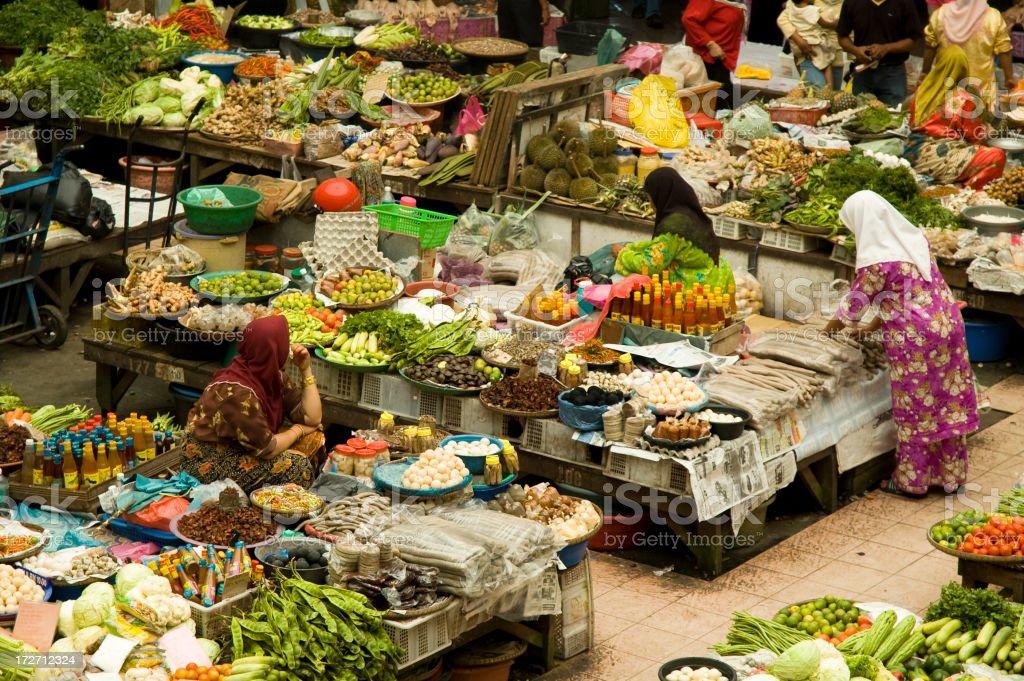 Muslim Ladies At The Colourful Market In Kota Baharu, Malaysia stock photo
