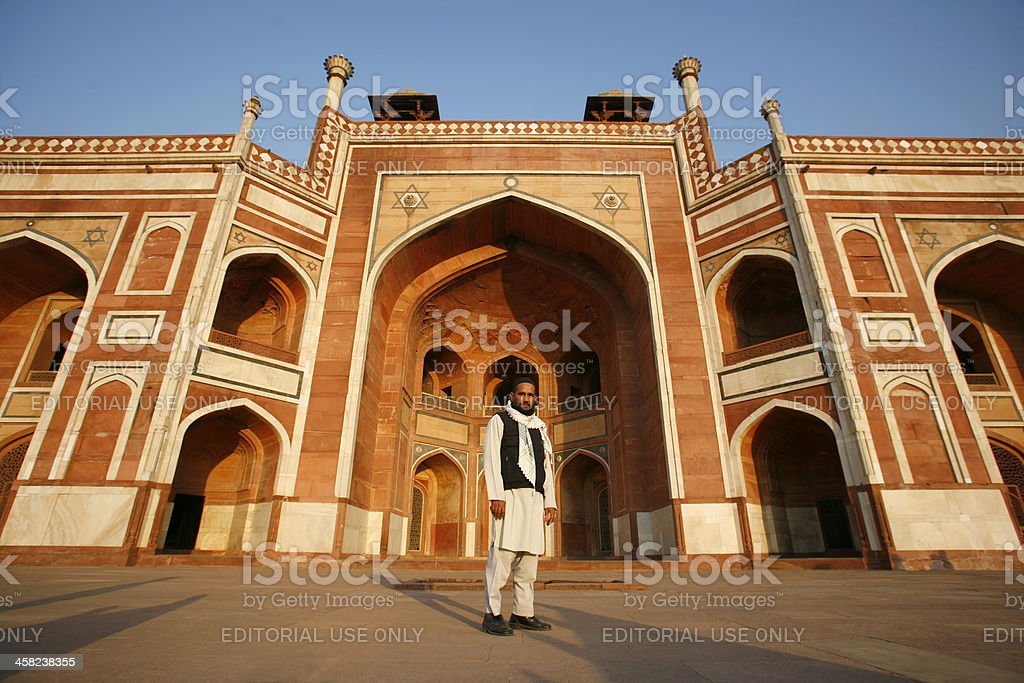 Muslim man at Humayun Tomb, Delhi, India royalty-free stock photo