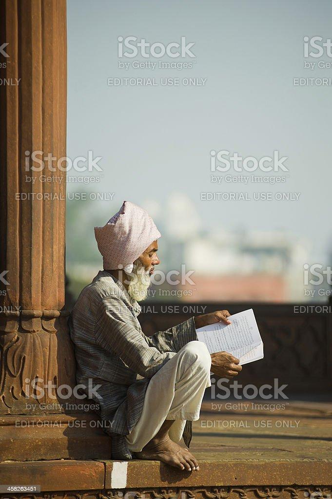 Muslim Man reading at Mosque royalty-free stock photo