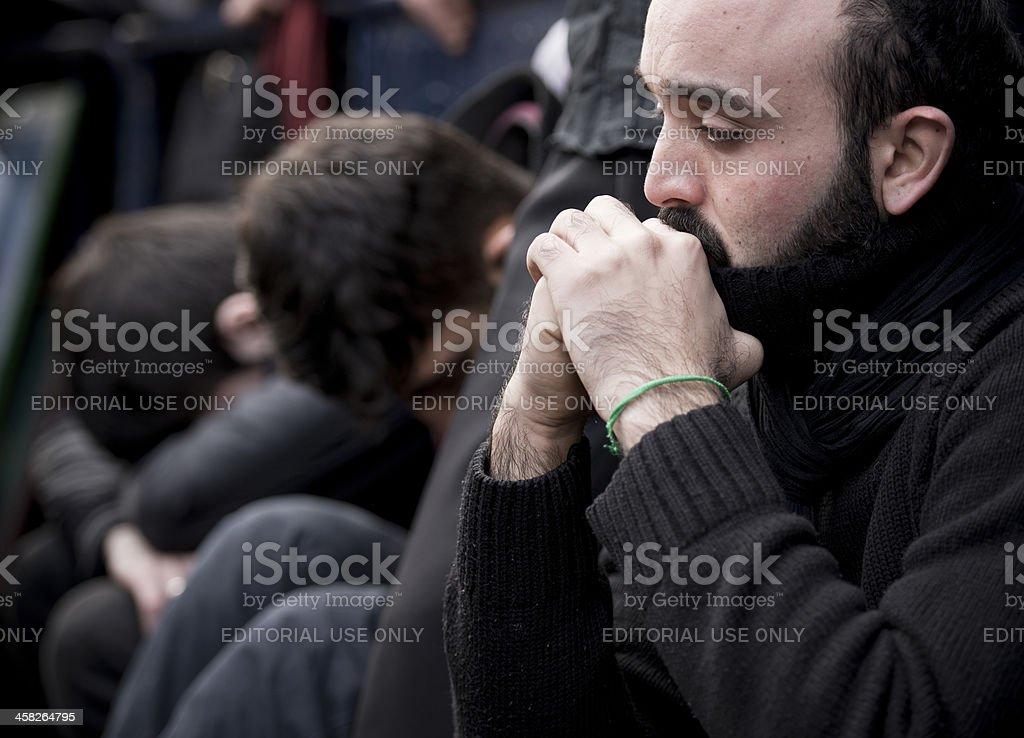 Muslim Men Crying stock photo