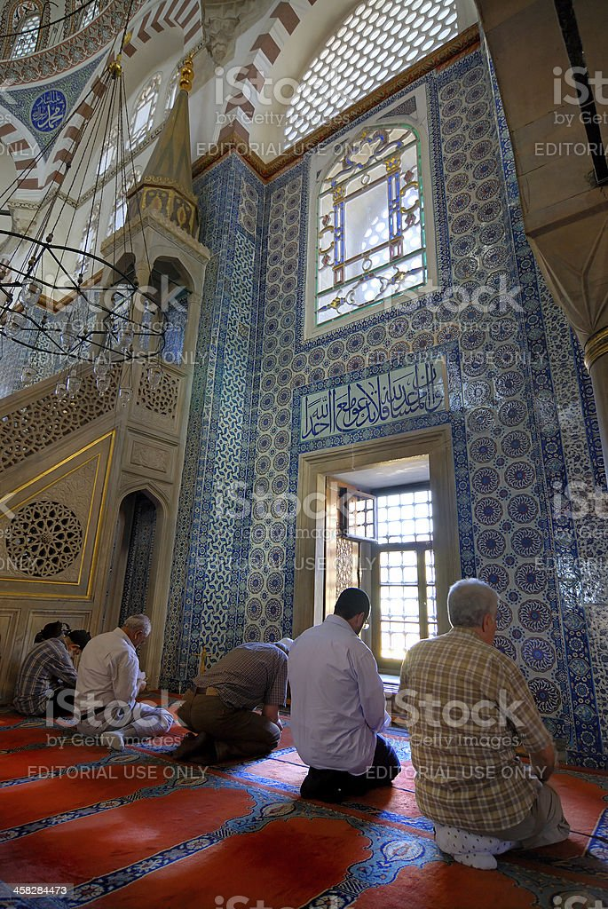 Muslim men inside the Mosque royalty-free stock photo