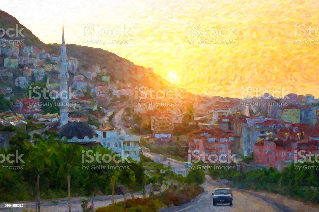 Muslim mosque at sunset. Walk around Alanya stock photo