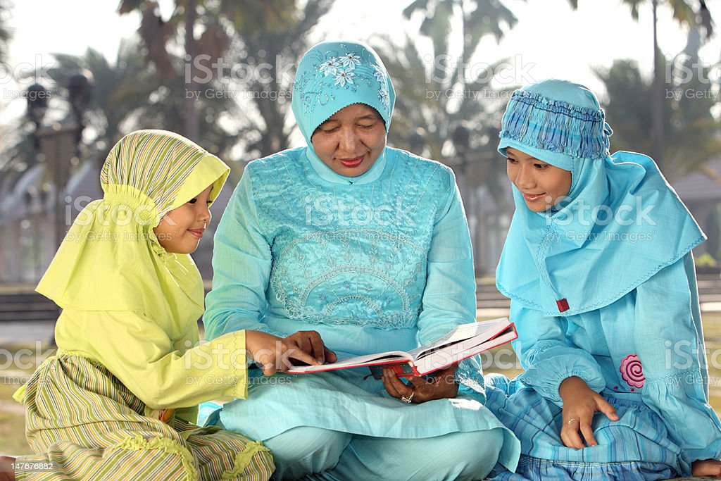 Muslim Mother and Kids royalty-free stock photo