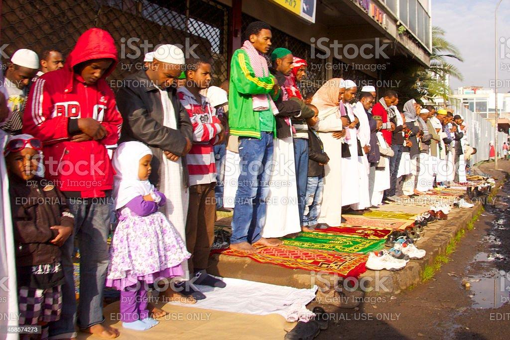 Muslim people are praying at Eid Ul-Fitr stock photo