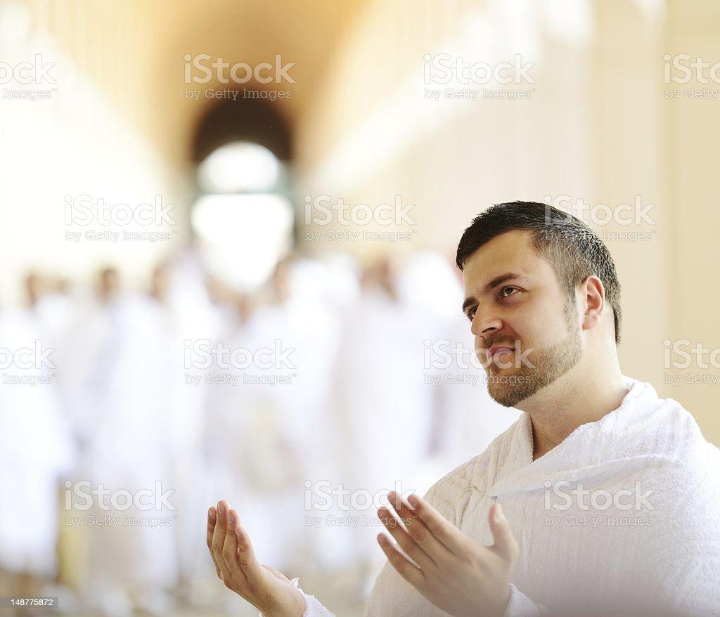 Muslim pilgrims at Miqat stock photo