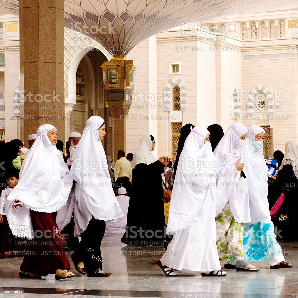 Muslim pilgrims, Medina, Saudi Arabia stock photo