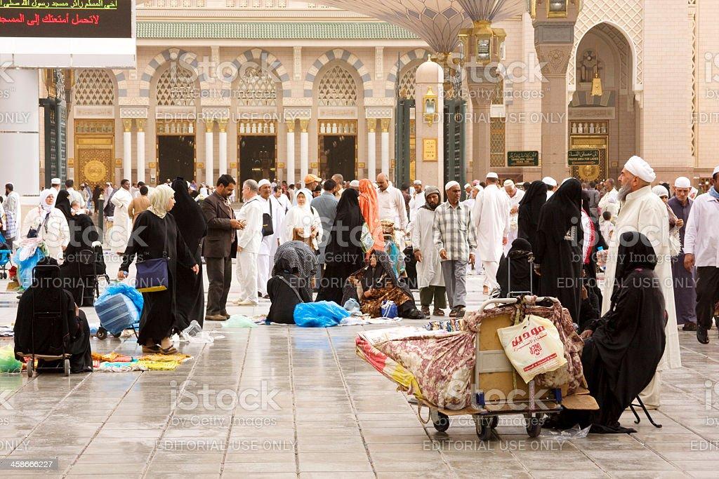 Muslim pilgrims, Medina, Saudi Arabia stock photo