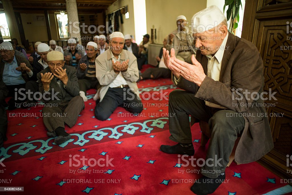 Muslim prayer in Mangalia stock photo