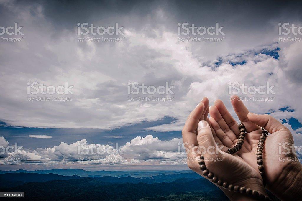 muslim  praying for Allah, muslim God stock photo