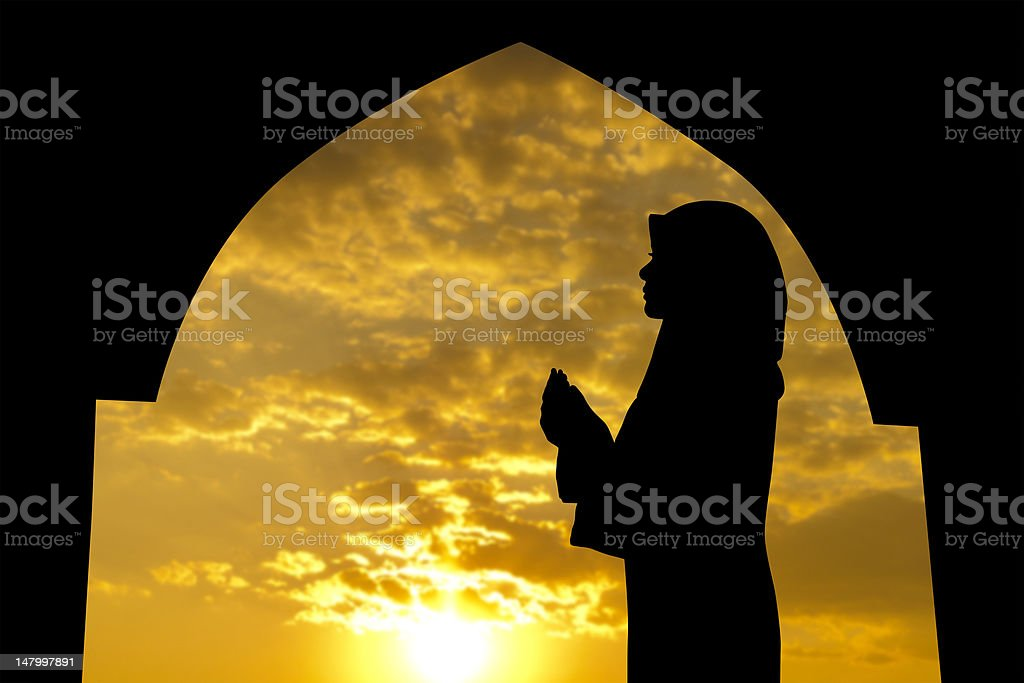 Muslim praying in mosque stock photo