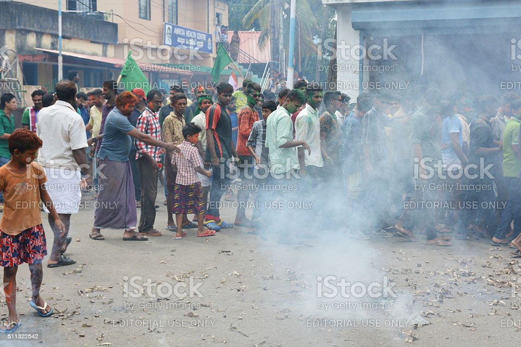 Muslim protests in India with fireworks stock photo