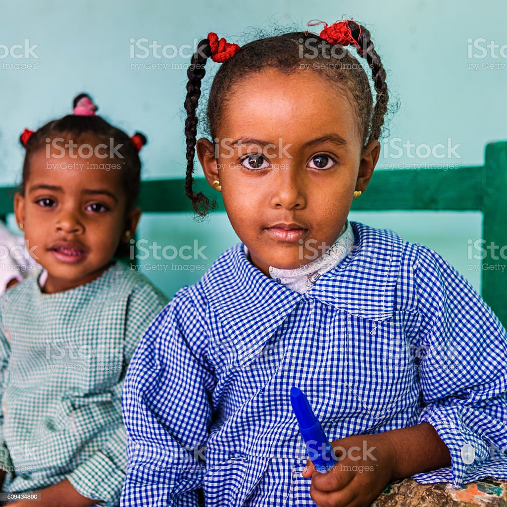 Muslim schoolgirl in Southern Egypt stock photo