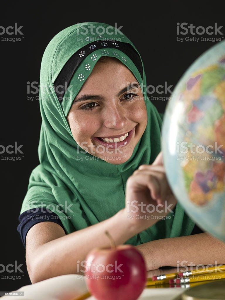 Muslim schoolgirl stock photo