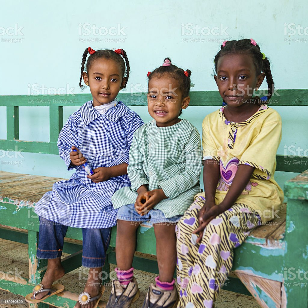 Muslim schoolgirls in Southern Egypt royalty-free stock photo