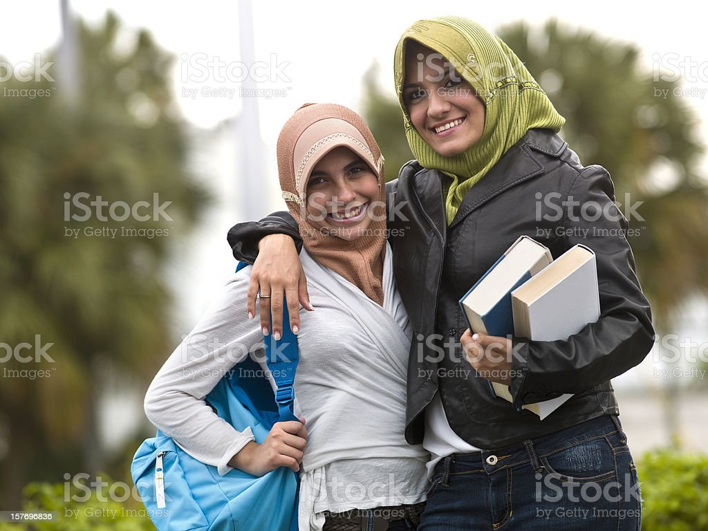 Muslim students teenage girls royalty-free stock photo