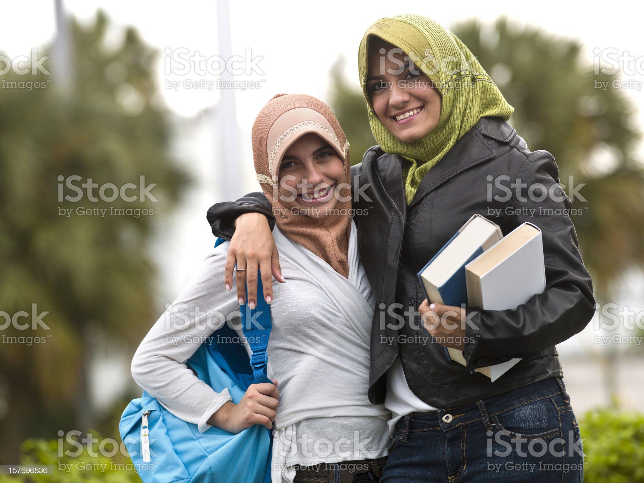 Muslim students teenage girls royalty-free stock photo