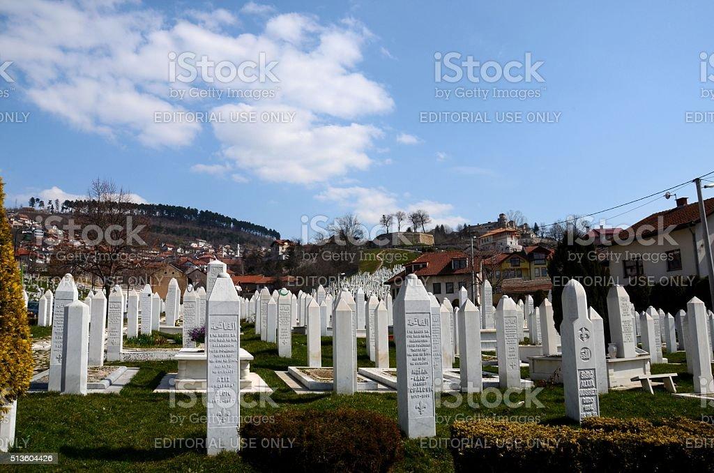 Muslim Tombstones Bosnian soldiers Martyrs Memorial Cemetery Sarajevo Bosnia stock photo