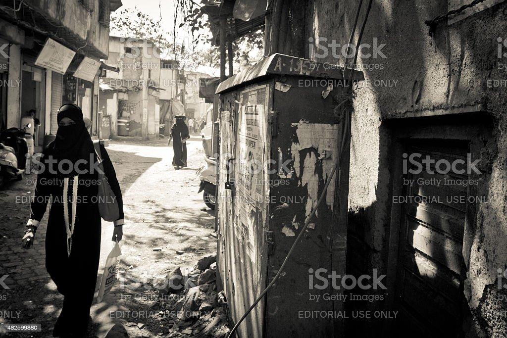 Muslim woamn of the Dharavi Slums of Mumbai, India stock photo