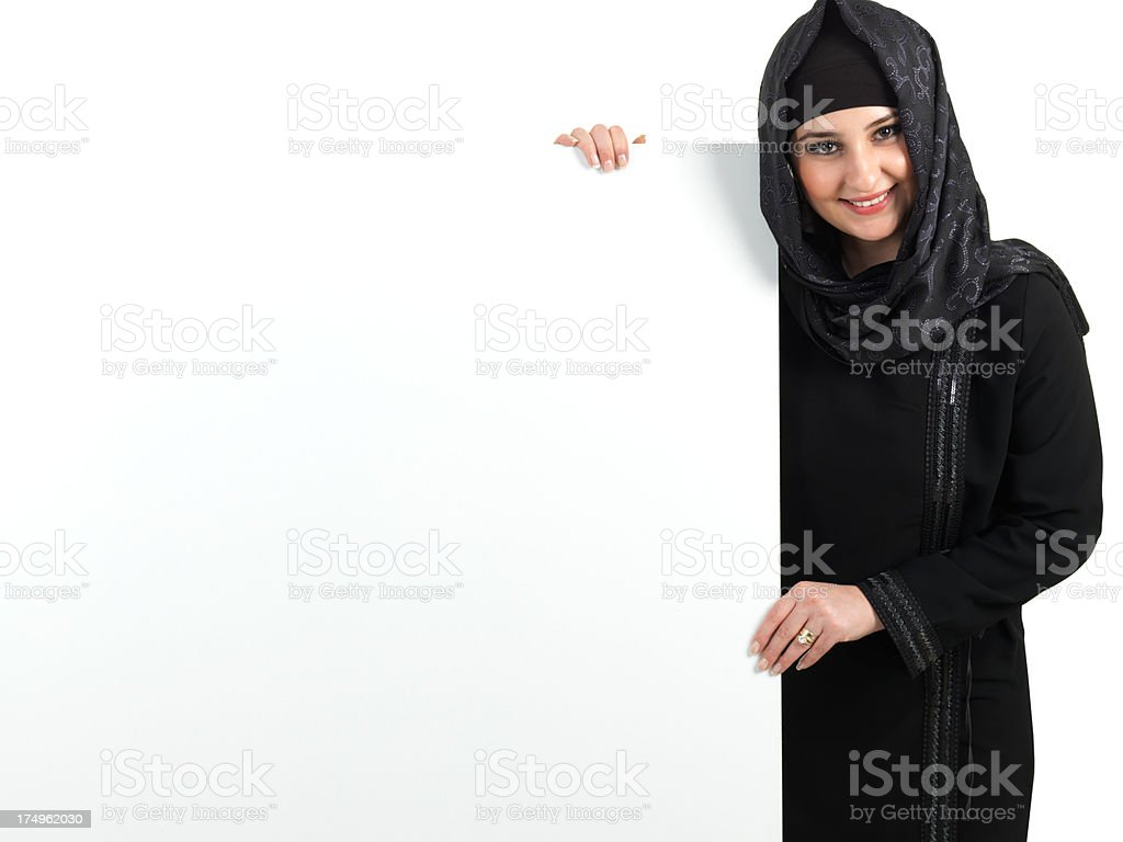 Muslim Woman and Billboard stock photo