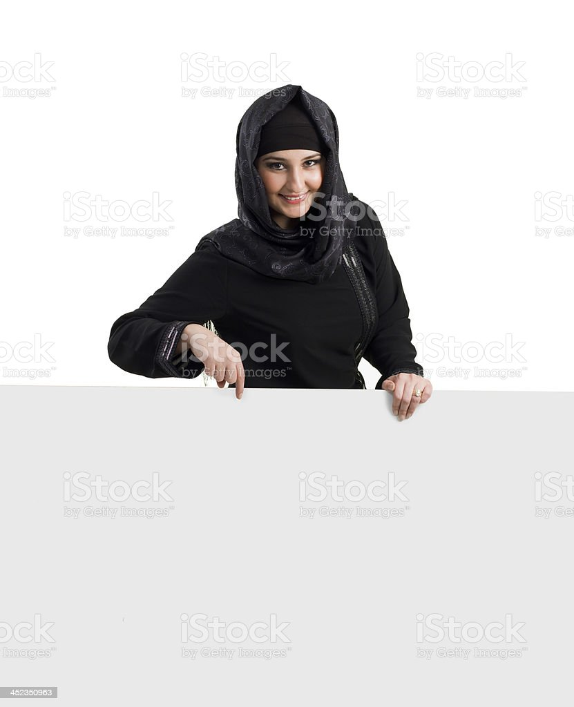 Muslim Woman and Billboard royalty-free stock photo