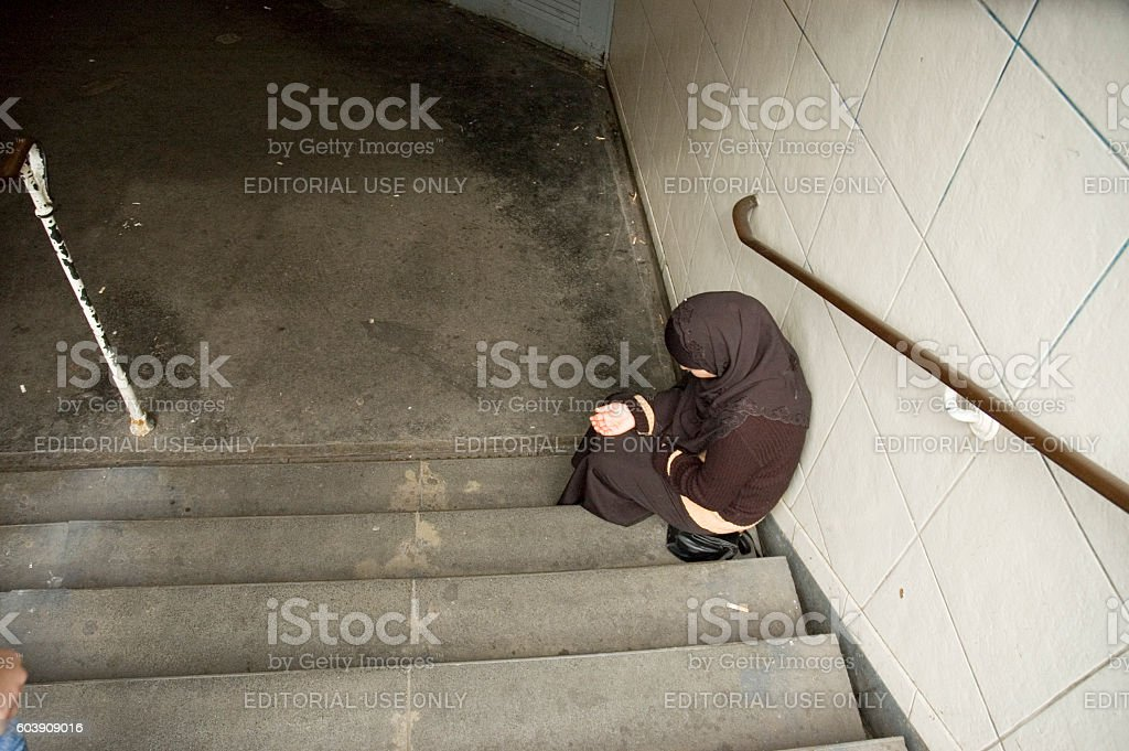 Muslim Woman Beggar stock photo