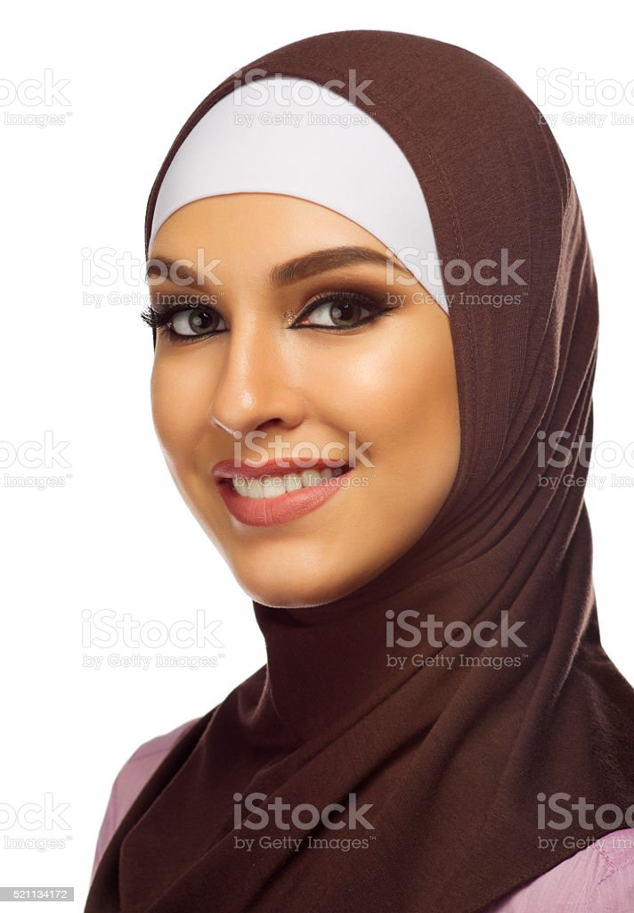 Muslim woman closeup isolated stock photo