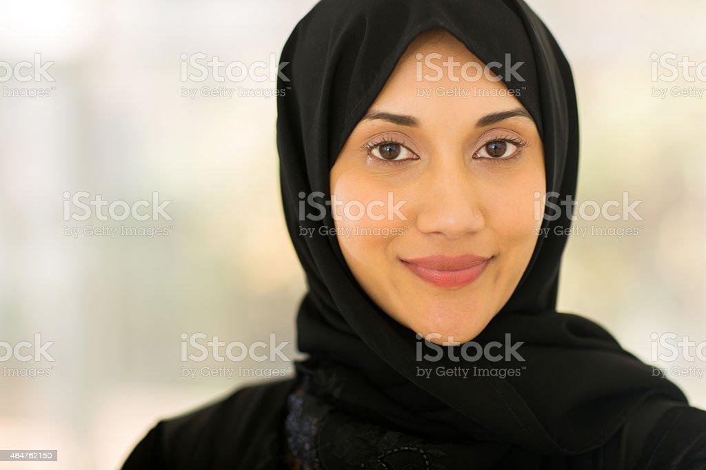muslim woman closeup portrait stock photo