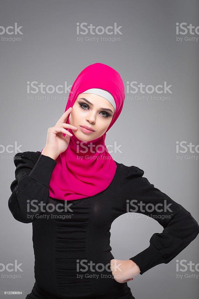 Muslim woman in hijab stock photo